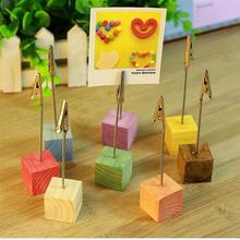8Pcs/Set Color Cube Stand Wire Desk Card Note Picture Memo Photo Clip Holder Table Wedding Party Place Favor Personalized Gift