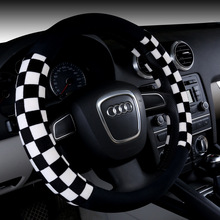 New breathable Steering wheel non-slip Cartoon velvet Racing Black Red covers Hubs Winter Car Accessories 38cm on sale TPE