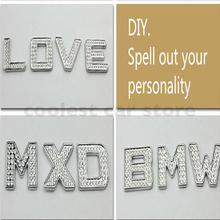 5pcs/pack DIY 3D Crystal Letters Number Metal Stickers  Car Decorative Rhinestone Alphabet Digital Figure Word Badge Accessories