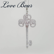 LOVE BEAR 2017 New Arrival Free Shipping Womens' Fashionable 925 Sterling Silver Classic Key Shape Pendants With Zircon Gem