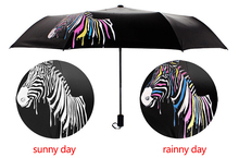 Yuding Colour Changing Umbrella Women Parasol Three Folding Umbrellas 8 Rib Polyester Sunny and Rainy Umbrella(China)
