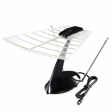 Pictek US Plug Amplified Indoor HDTV Antenna 60 Miles TV Antenna for FM/VHF/UHF w/ Built-in Amplifier, Coax Cable, Rabbit Ear
