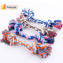 Dogs Chew Knot Toy Colorful Bones Dog Toys Chew Braided Cotton Rope Puppy Strong Clean Tooth Molar Pets Supplies Practical S M L