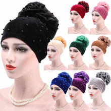 Women Muslim Stretch Turban Hat Flower Hair Loss Head Scarf Wrap Fashion Women Men Winter Warm Knit Crochet Ski Hat Braided Cap(China)