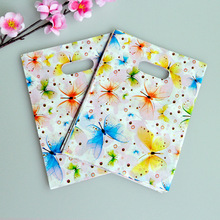 100pcs/lot 15*20cm Butterfly Patchwork Plastic Recyclable Useful Packaging Bags Shopping Hand Bag Portable Boutique Gift Carrier