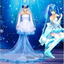 Bride of Devil vocaloid Hatsune Miku cosplay costume anime clothes Carnival costume party fancy dress with socks and Veil