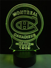 New Montreal Canadiens Club Medal Luminarias 3D Atmosphere 7 Colors Gradient Visual Nightlight Illusion Birthday Party Deco Lamp(China)