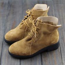 Women Ankle Boots Genuine Leather Lace up Suede Boots Brush Brown Western Cowboy Boots Woman Spring/Autumn Shoes (5230-1)