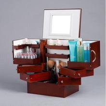 degrees to the South Korean drawer type solid wood system desktop cosmetics storage box cover with a mirror cabinet box