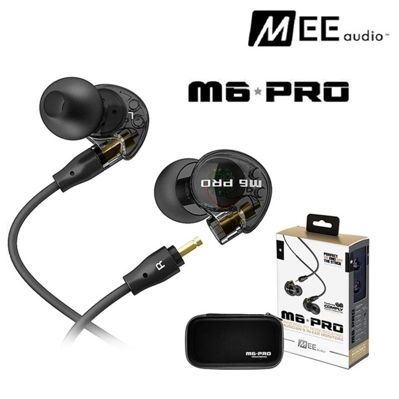 Black/ white Wired earphone MEE audio M6 PRO Universal-Fit Noise-Isolating earphones Musicians In-Ear Monitors headset with box<br>