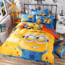 100% cotton Bedding set cartoon Printing Minions bedclothes Baby children kids bed linen king queen twin full duvet cover set