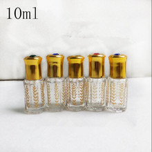 5ml Crystal Clear Glass Perfume roll on bottle Golden pattern Originales refillable essential oil Parfume Empty Containers(China)