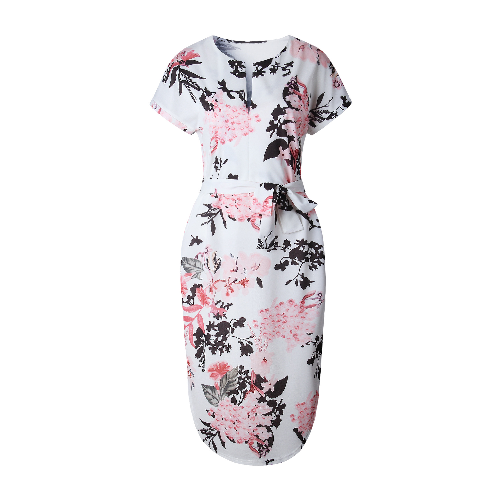 2018 Summer Dress Women Print V Neck Short Sleeve Robe Female Dresses Casual Sashes Midi Dress Ladies Elegant Vestidos Dropship 16