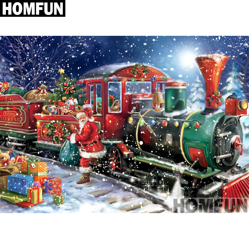 Santa-unloading-the-gifts-from-north-pole-express-train-in-snow-fall-painting-image