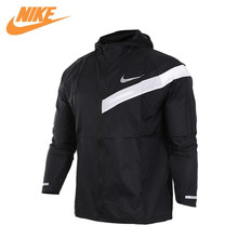 Original New Arrival Authentic Nike Men's Windproof Windrunner New Jacket Black with White Nike Logo 833546-010(China)