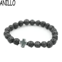 ANILLO 2017 New 8mm Natural Lava Stone Beaded Bracelet Men Hematite Gallstone Cross Bracelets Pulseras Hombre Yoga Jewelry