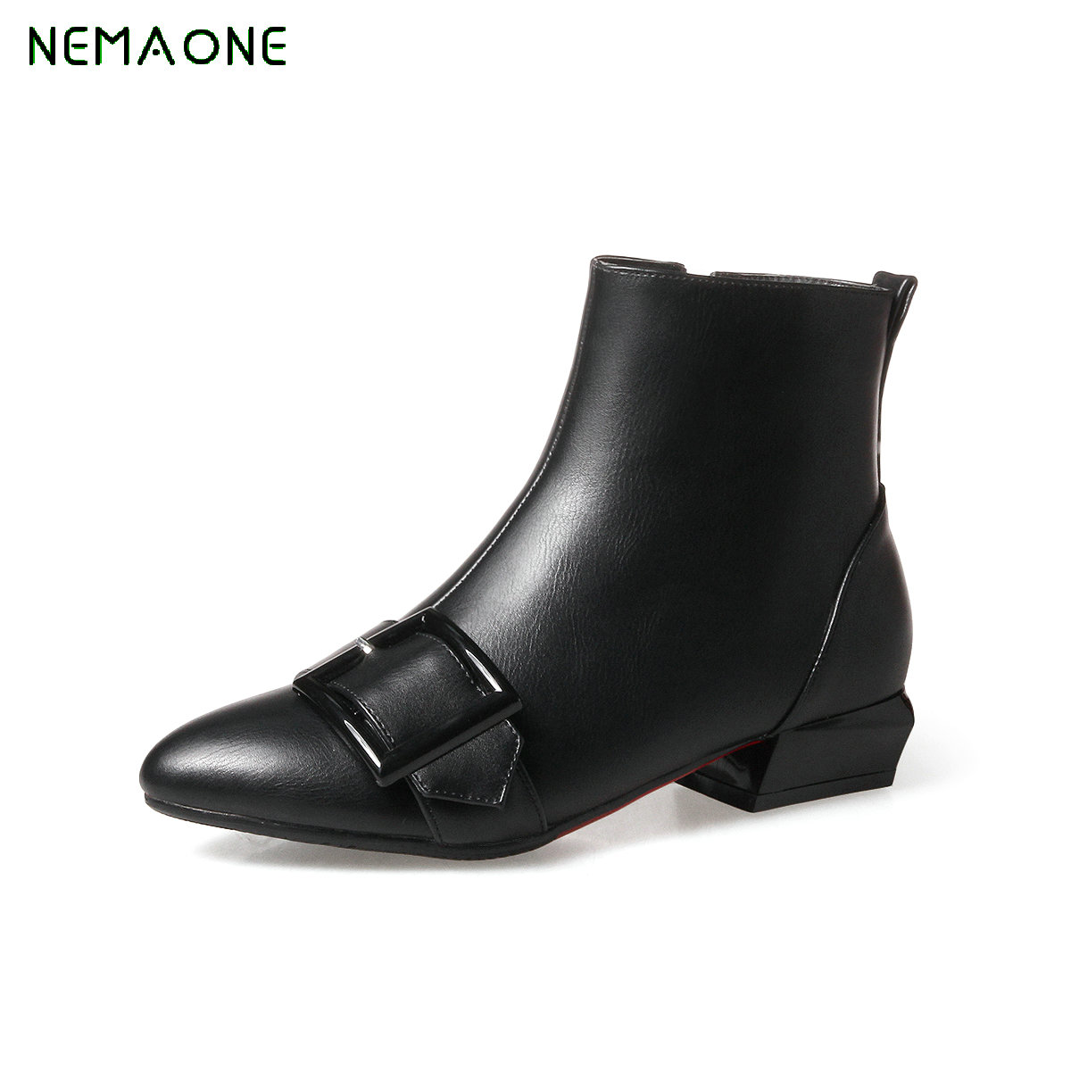 NEMAONE 2017 Large Size 34-43 Buckles Women Shoes Woman High Heels Date Ankle Boots Cow Suede Zip Up<br>
