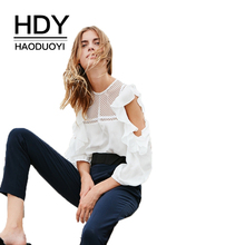 HDY Haoduoyi Solid White Sexy Sweet Shirts Women Cold Shoulder Hollow Out O-Neck Butterfly Sleeve Patchwork Blouses Female(China)