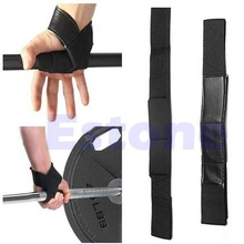 Black Wrist Support Gloves Wrap Hand Bar Straps For Weight Lifting Training Gym Free Shipping