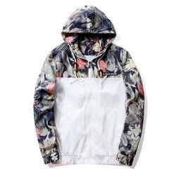Цветочная куртка 2019 осенние мужские куртки с капюшоном Slim Fit с длинным рукавом Homme модные ветровки пальто брендовая одежда Прямая доставка