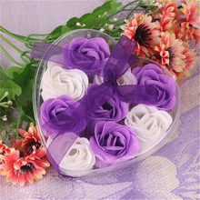 A3 high quality 9Pcs  Scented Rose Flower Petal Bath Body Soap Wedding Party Gift free shipping Wholesale