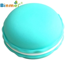 Beautiful Gift New Sky Blue 1pc Earphone SD Card Macarons Bag Big Storage Box Case Carrying Pouch Wholesale price Feb17(China)