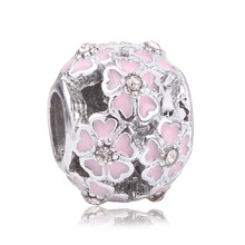 Couqcy High Quality Silver Charm Bead Flower Enamel Beads Fit Original Pandora Bracelet Authentic Luxury Women Jewelry DIY