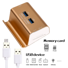 USB 3.0 HUB + Card Reader USB Hubs OTG Micro USB Charger Dock Station For Samsung Huawei Phone For Macbook Laptop Computer PC(China)