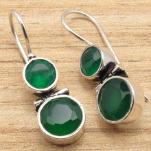 Authentic GREEN ONYX Hinge Earrings !  Silver Plated HANDMADE Jewelry