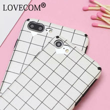 LOVECOM Fashion Geometric Square Grid Soft Silk TPU Phone Back Cover Case For iPhone 6 6S 7 8 Plus Phone Bags & Cases Capa(China)
