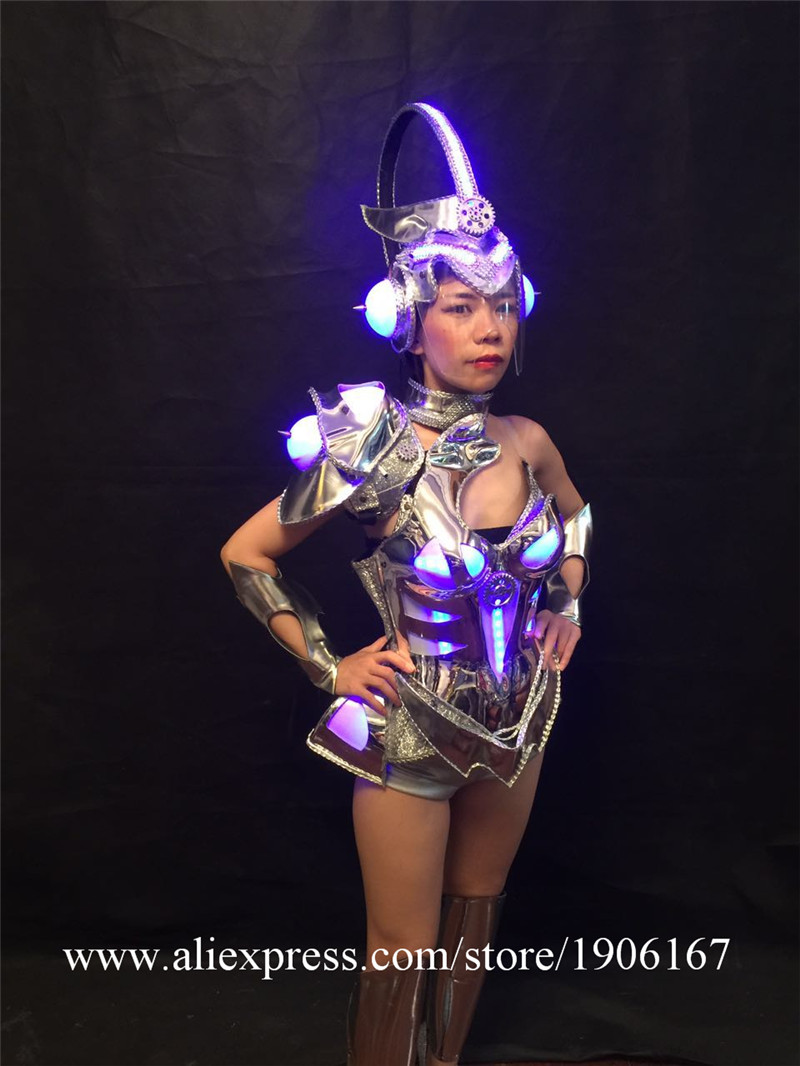 Sexy singer luminous wears clothes cosplay disco stage car models performance led costume ballroom dance dresses party dj0