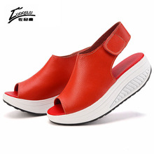 2017 Summer Women Sandals Leather Casual Peep Toe Swing Shoes Ladies Platform Wedges Sandals Walk Shoes Woman Sandalias Zapatos