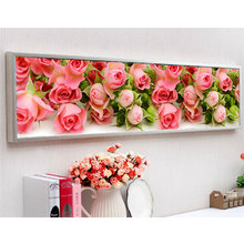 Hot 5D Diy Diamond Embroidery Flowers Diamond Painting Cross Stitch Pink Rose Wall Pictures for Living Room Gift 170c*50cm(China)