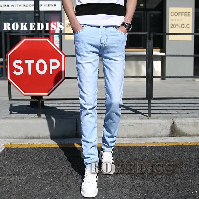 2017 New Fashion Mens Casual Stretch Skinny Jeans Trousers Tight Pants zipper Solid Colors light blue plus size 28-34 E039Одежда и ак�е��уары<br><br><br>Aliexpress
