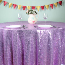 "Light Purple - 108"" Round Glitz Sequin TableCloths Banquet Table covers Christmas Birthday Wedding Party Decoration(China)"
