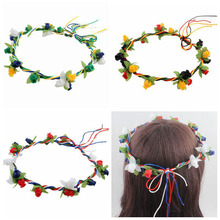 Women Nation Fans Flower Hair Bands Floral Headband Nylon Rope Garland Hair Accessories New(China)