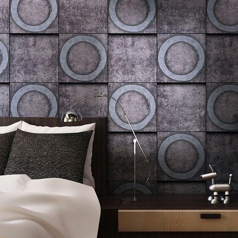 Vinyl Vintage 3D Circle Wall Wallpaper Retro Grey Unique Loft Style Waterproof Metal Wall Paper Roll For Restaurant Room Walls<br>