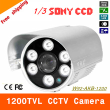 "Free shipping NEW 1/3"" SONY CCD HD 1200TVL Waterproof Outdoor security camera 6 Pcs array led IR 80 meter CCTV Camera(China)"