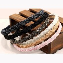 Glittering Acrylic Beads Knitted String Twisted Hairbands Trendy Women Headwear Hair Accessories for Girls
