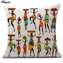 Buy Maiyubo Cotton Linen African Woman Cushion Cover Sofa Dancing Lady Original People Decorative Cushions Case Home Decor PC236 for $3.17 in AliExpress store