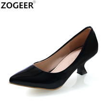 ZOGEER New Casual Medium Heels Women Pumps Sweet Candy Color black red pink white Wedding Shoes Ladies Office Dress Pumps(China)