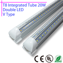 1Pcs LED T8 integrated tube 20w 110v 220v 60cm 85-265v Double 2835 Led Bulb Lamp Clear Cover Free Shipping 2ft white/warmwhite(China)