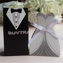 100pcs Bride And Groom Candy Bag Wedding Candy Box Wedding Favor Box Gift Boxes White Black Paper Gift Box