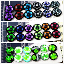12pcs/lot (One Set) Four Style 12mm Clover Five leaf flowers Handmade Glass Cabochons Pattern Domed Jewelry Accessories Supplies