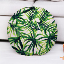 Decorative throw pillow case cover Round plant green leaf leaves cotton linen cushion cover for sofa home capa de almofadas