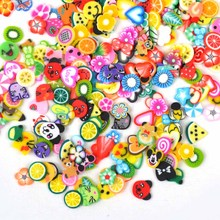 1000PCS/Pack 3D Fimo Nail Art Decorations Fimo Canes Polymer Clay Canes Nail Stickers DIY 3mm Fruit Feather Slices Design ZJ1202(China)