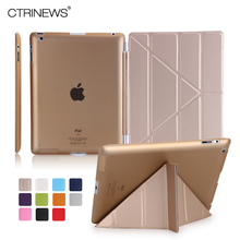 CTRINEWS Flip Leather Case for iPad 4 3 2 Cover Smart Hard PC Back Cover for Apple iPad 2 3 4 Case PU Multi Fold Tablet PC Stand