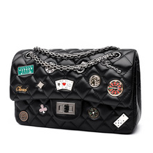 2017 spring new design white shoulder bag chain belt with badge summer diamond lattice bag party clutches small women handbags