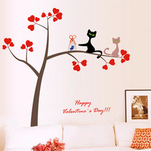 Factory direct sales tree cat bedroom living room corner decoration five generations can remove wall stickers(China)