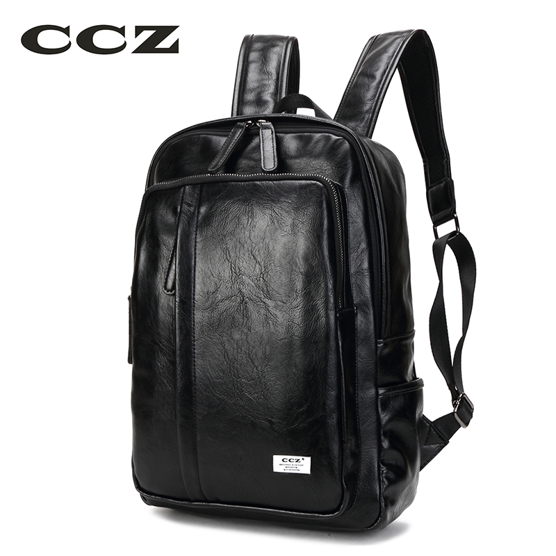 CCZ New Arrival Fashion Schoolbag Men Backpack PU Leather Women Backpack Teenage Rucksack Shoulders Bag 14 Laptop Bag BK8033<br>